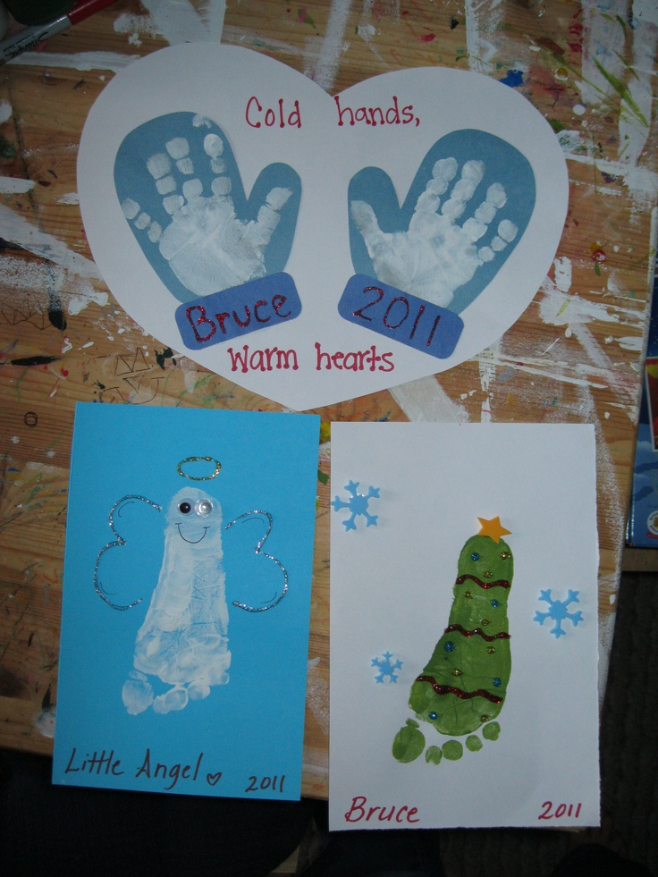 Christmas hand foot print crafts kids pinterest for Hand and foot crafts