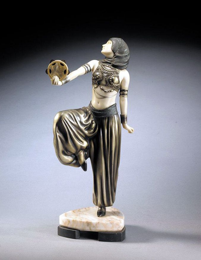 A French Art Deco bronze and ivory sculpture, unsigned, 1920s.