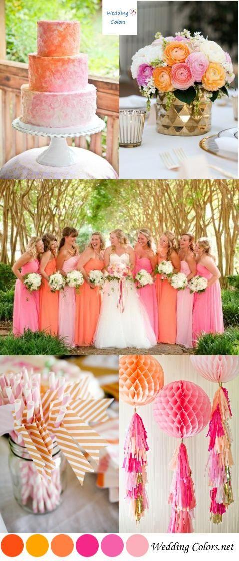 Summer wedding palette pink and orange sorbet for Summer wedding color palette