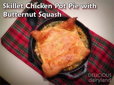 Skillet Chicken Pot Pie with Butternut Squash (along with kale, pearl ...