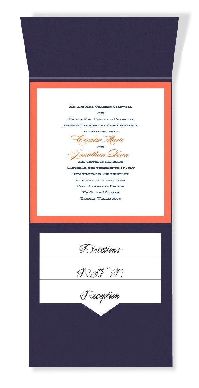 6 x 6 Vertical Folio Pocket Wedding Invitations - 2 Layers Small Border by MyGatsby.com
