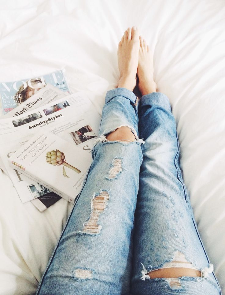 denim, distressed, reading, bed, lazy