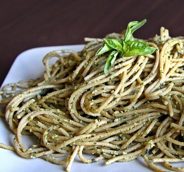 Vegan Basil Pesto Ingredients 1 1/2 cup fresh basil leaves 1/2 cup ...