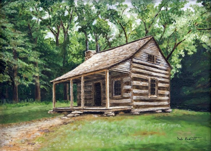 Log cabin original oil painting done by deb endicott for Log cabin painting