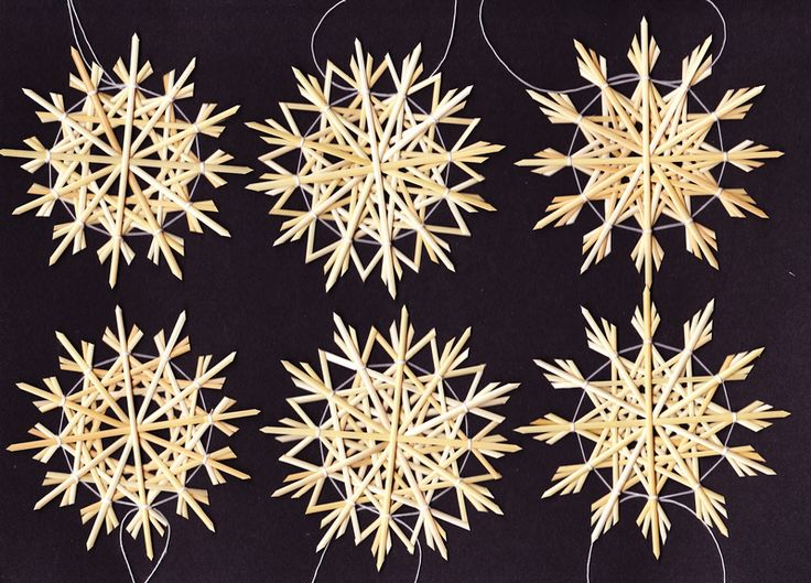"""Baumschmuck: Stroh - 6 Strohsterne im Set """"zweifache Sterne weiss"""" - ein Designerstück von Strohsterne bei DaWanda"""