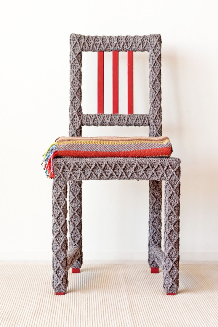 Grey Brown Accent Chair, Home Office Chair, Upcycled Furniture, Crochet Home Decor, Eco-Friendly Fiber Art by Knits for Life. $500.00, via Etsy.