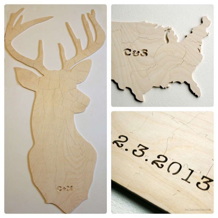 a wood puzzle wedding guest book