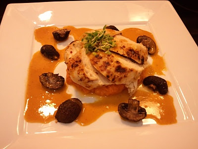 Broiled Chicken with Sweet Potato Mash and Roasted Crimini Mushrooms