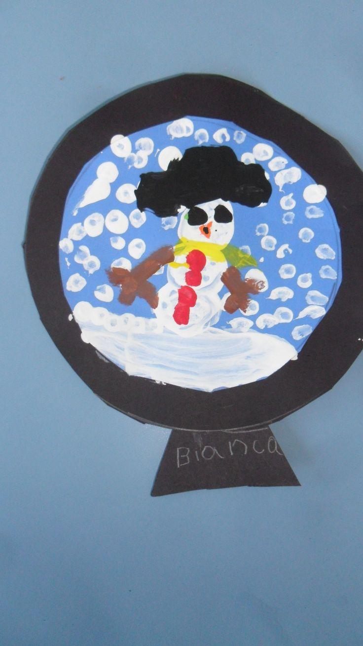 Boule de neige peinture faite avec coton tige