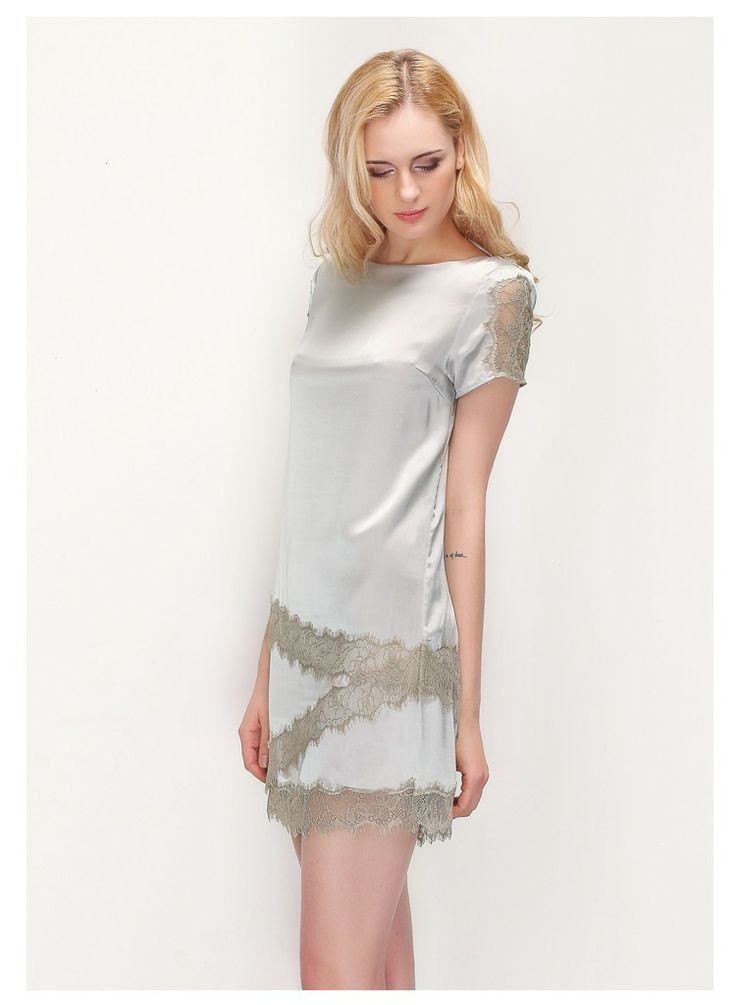 Chic Laced 100% Silk Short Sleeve Dress,$128.98
