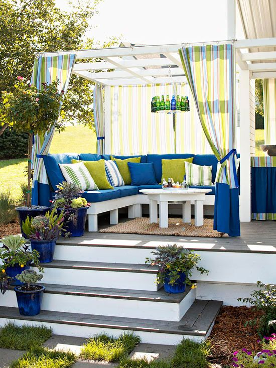 Creating an outdoor space under a pergola + coordinating fabrics
