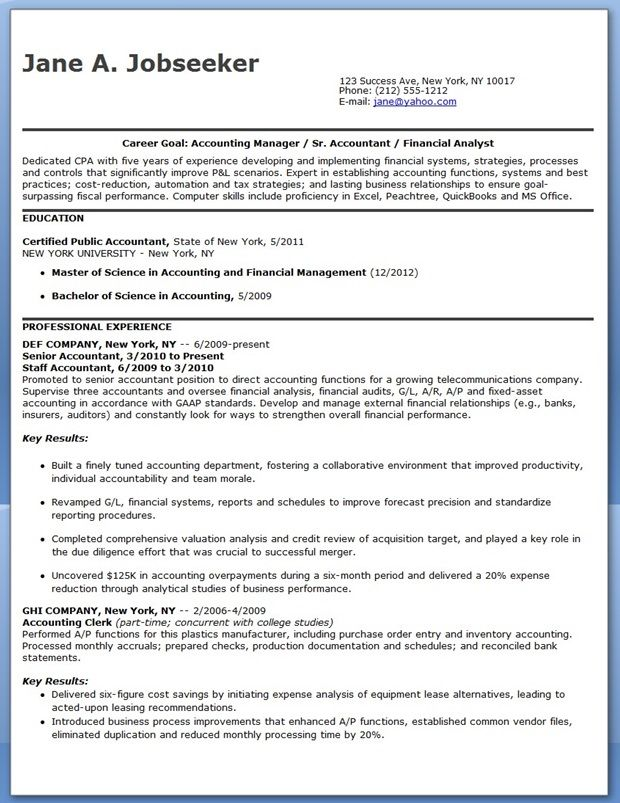 CPA Resume Sample Entry Level Career Life