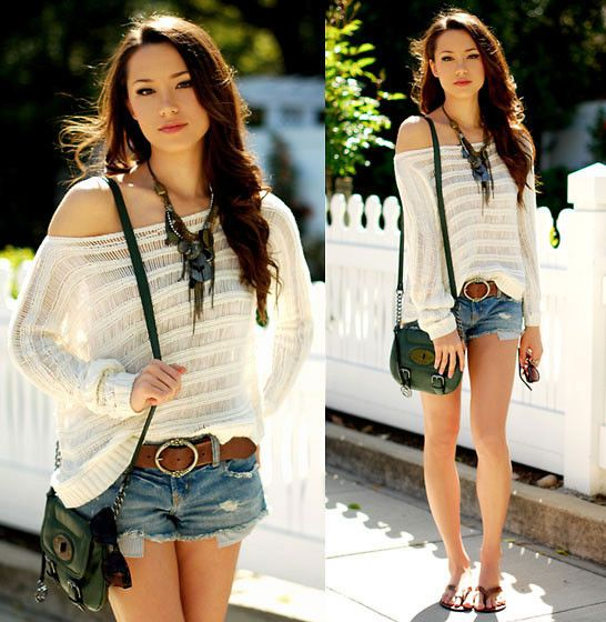 Pacsun Top, American Eagle Cut Off Shorts, Aeropostle Belt, Style & Co. Bag, Express Necklace