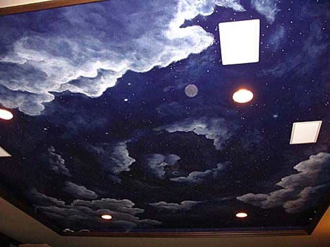 Cloudy night sky ceiling mural sun moon and star pinterest for Ceiling sky mural
