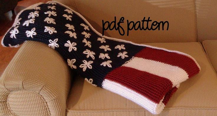 Crochet Pattern For Usa Flag : PDF Crochet Pattern - Intermediate - American Flag Afghan ...