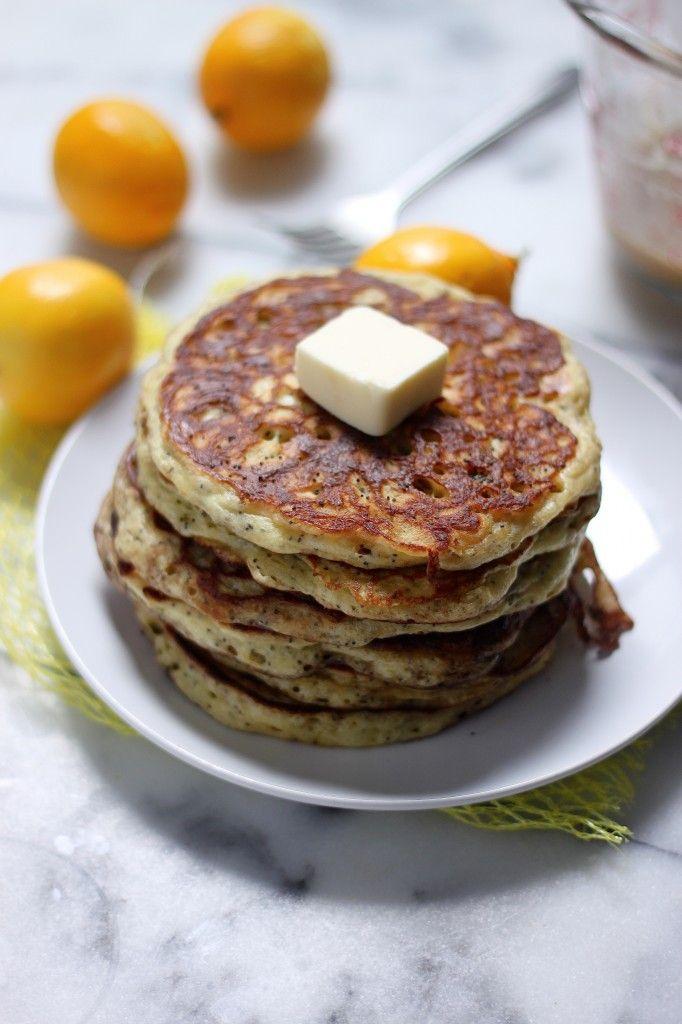 Greek Yogurt Meyer Lemon Poppy Seed Pancakes with Brown Butter Lemon ...