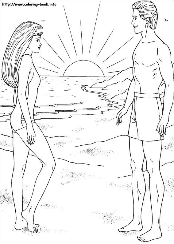 Barbie Swimming Coloring Pages : Barbie coloring picture and ken beach swim kids