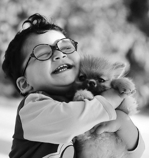 I can beleieve !! is one of most joyful photo ever see ! It really made me feel the love for his puppy !