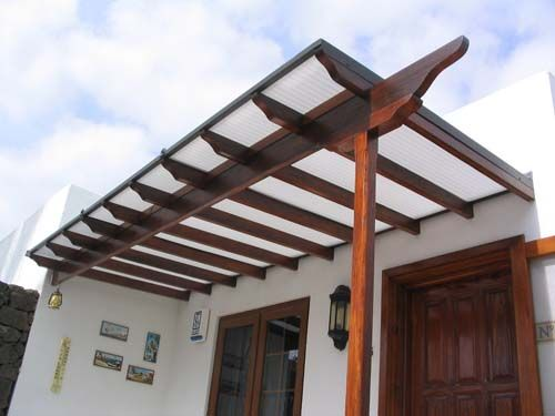 Walled pergola with polycarbonate roof back garden pinterest - Pergola with roof ...