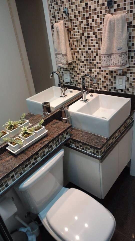 Banheiro pequeno  Casa  Pinterest -> Lixeira Banheiro Pequeno