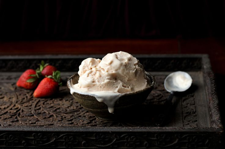 ... strawberries this weekend - Roasted Strawberry Rhubarb Basil Ice Cream