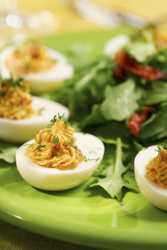 Bacon, Tomato and Balsamic Deviled Eggs | Recipe