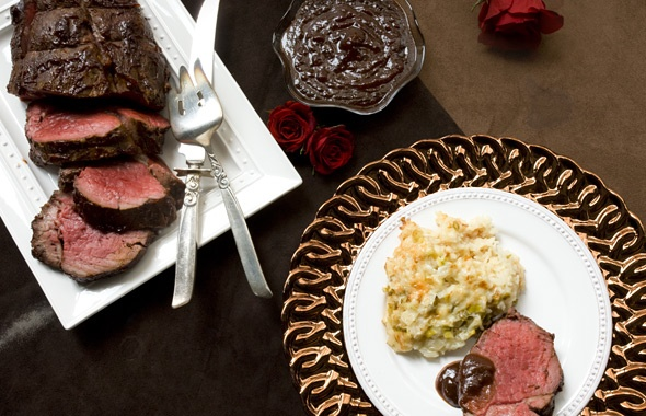 ... Roasted Beef Tenderloin with Henry Bain Sauce and Cheesy Baked Rice