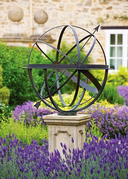 Brass armillary sphere in lavender