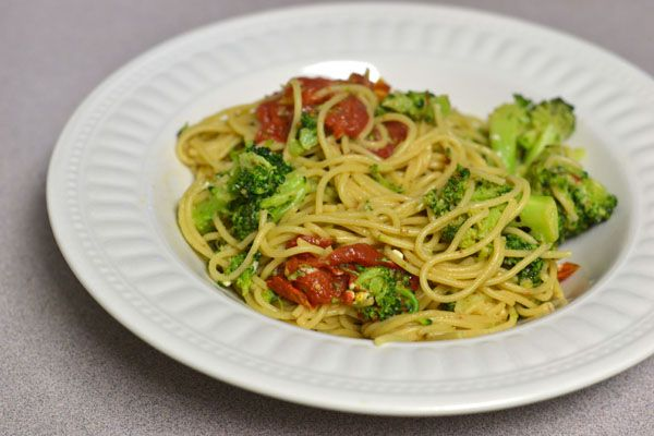 Spicy Angel Hair with Broccoli and Roasted Tomatoes
