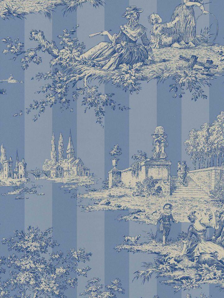 blue floral stripe toile wallpaper