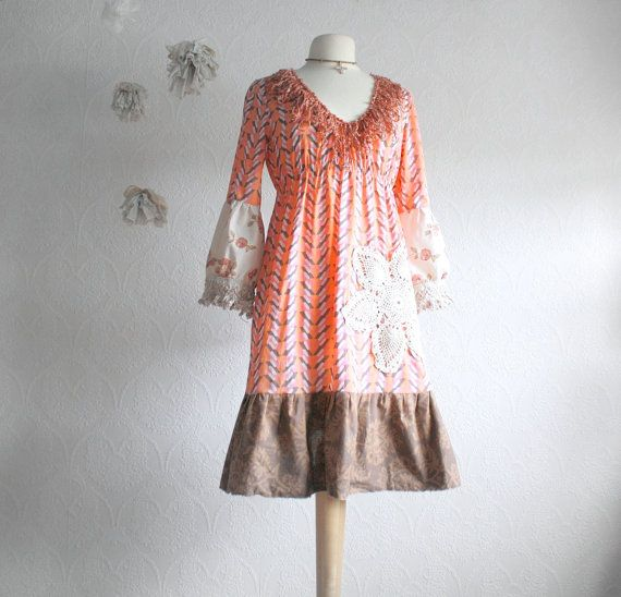 Bohemian Dress Peach Brown Hippie Clothing Women's Upcycled Fringe