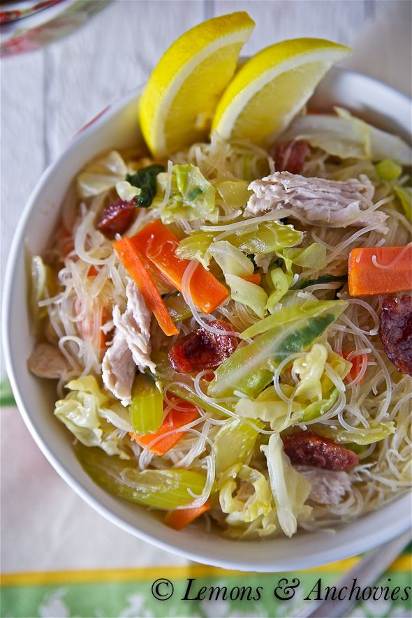 Pancit Bihon Guisado Note: process for chicken; add cooked meat where ...
