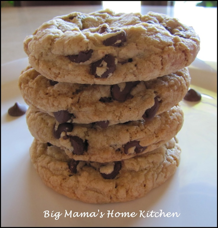 thick and chewy chocolate chip cookies.. had no butter left so I ...