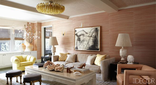 In the living room of actress Cameron Diaz's Manhattan apartment, designed by Kelly Wearstler.
