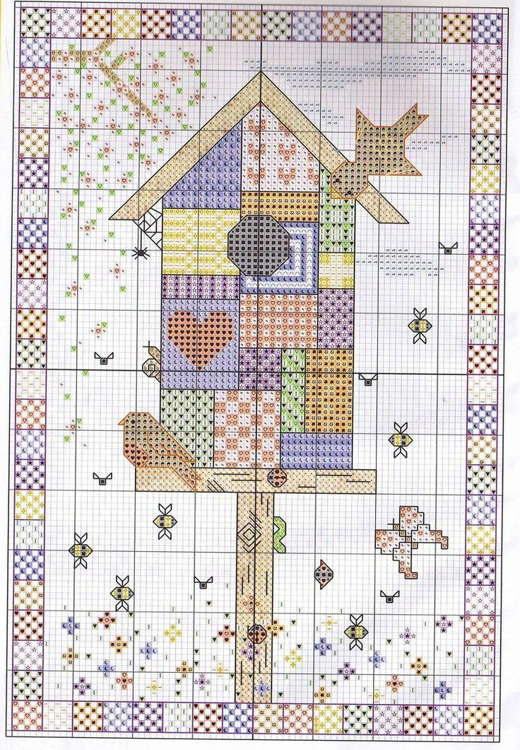 Cross stitch pattern, birdhouse patchwork.