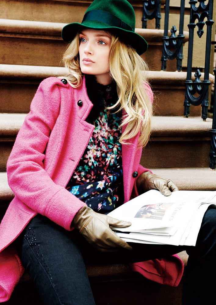 Lily Donaldson and Cara Delevingne for Goelia Winter 12/13 // love the hat and bright pink coat