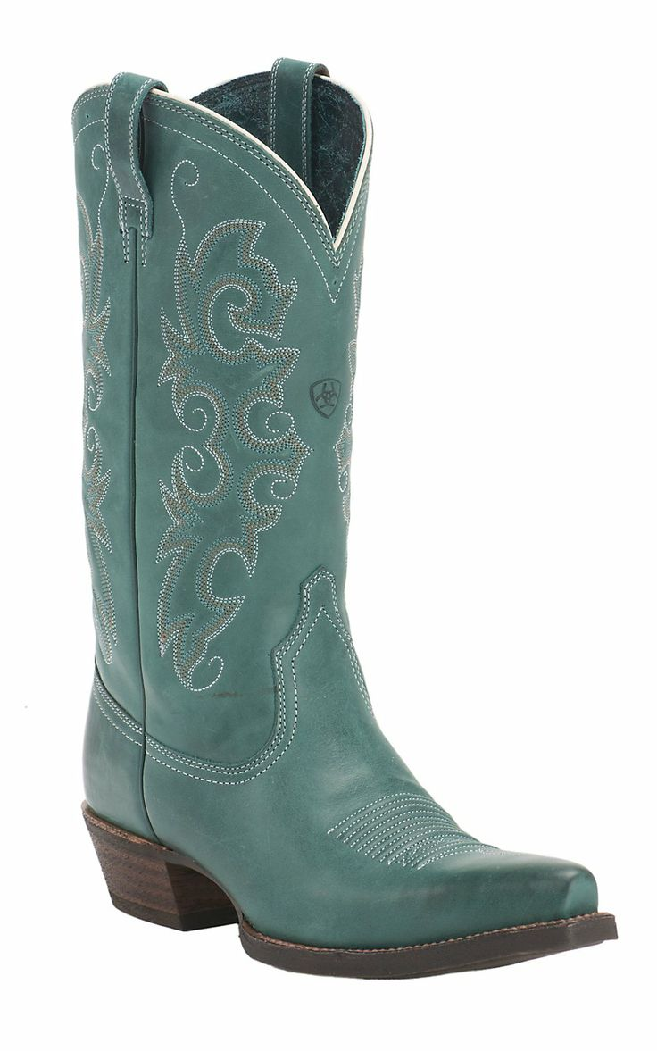 Fantastic Vintage Womens Teal Green Leather Cowboy Boots Size 75 M  EBay