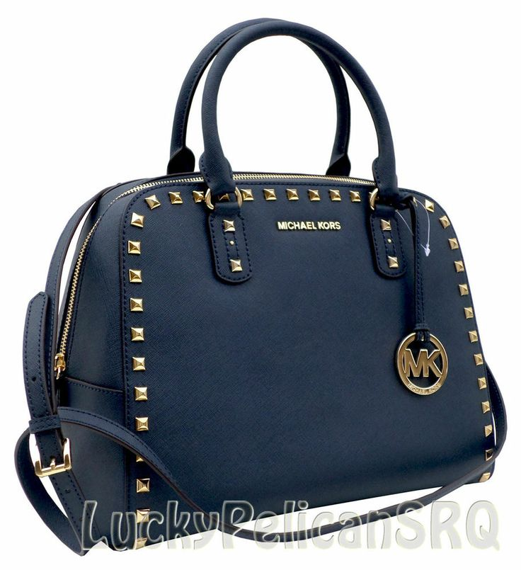 Michael Kors STUD Blue Navy Saffiano Leather Large Satchel Purse Bag ...
