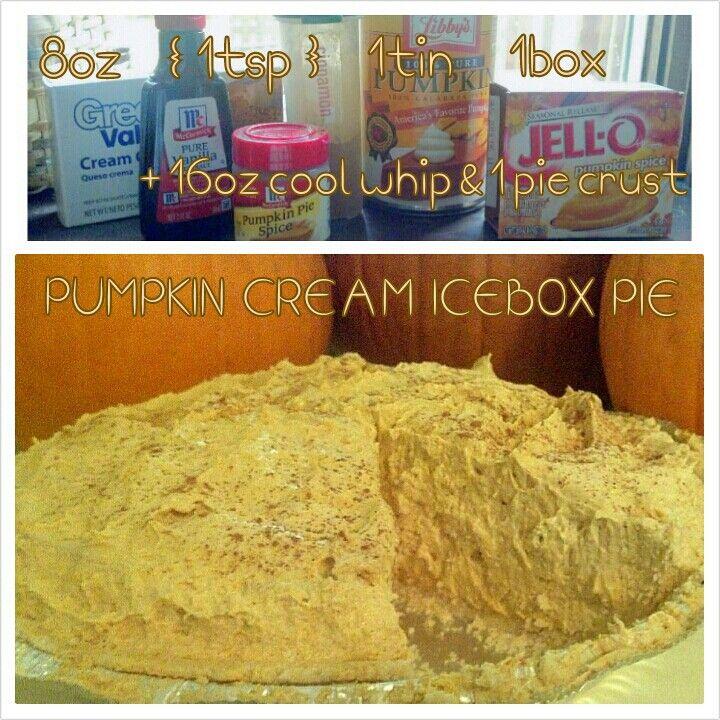 PUMPKIN CREAM ICEBOX PIE :: 8oz cream cheese * 1/4c sugar (optional ...