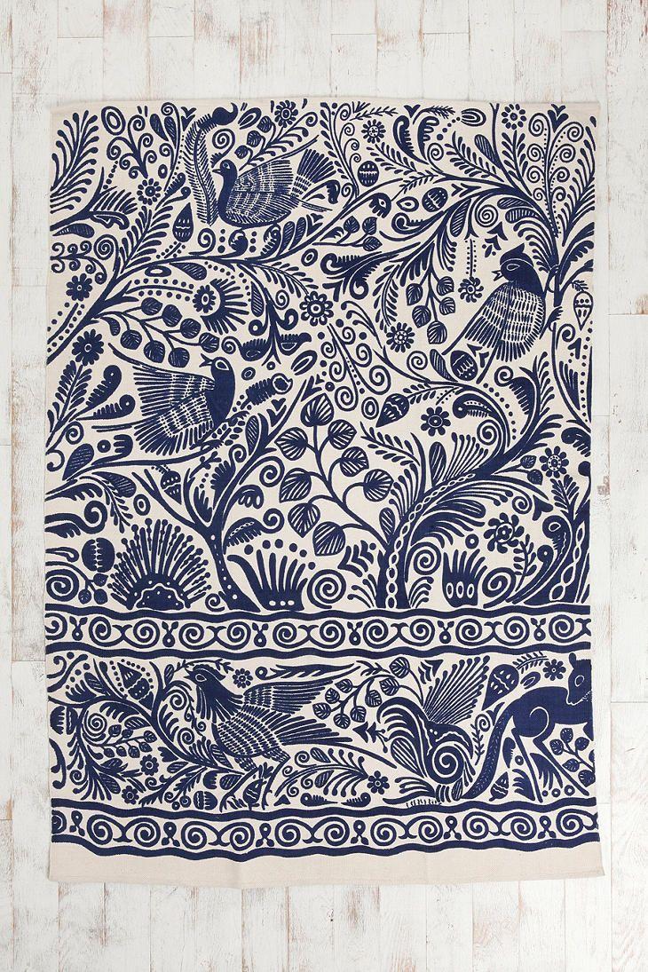 5x7 Batik Bird Rug