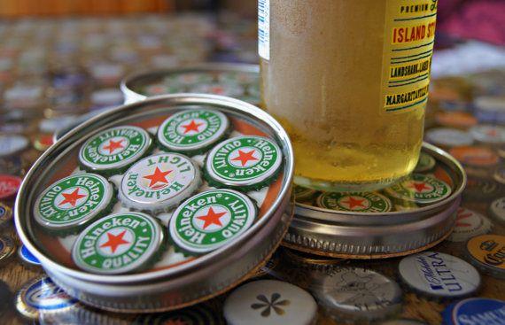 a tee shirts Bottle Cap Coaster  Beer  Heineken  Green