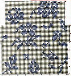 Схема для филейного вязания листья