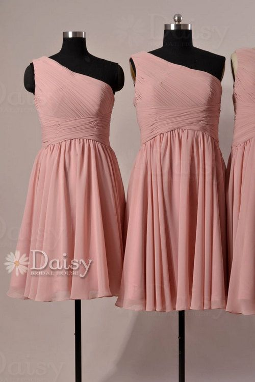 Vintage rose pink bridesmaid dresses short pink chiffon for Rose pink wedding dress