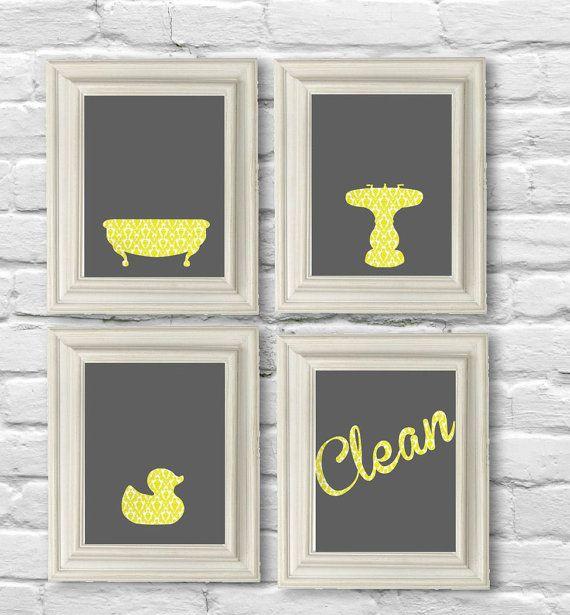 Digital download no bathroom set in yellow damask and gray for Yellow and grey bathroom sets
