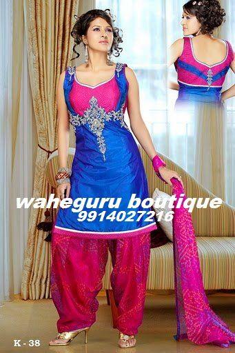 Pink and Blue   Punjabi Suits   Pinterest