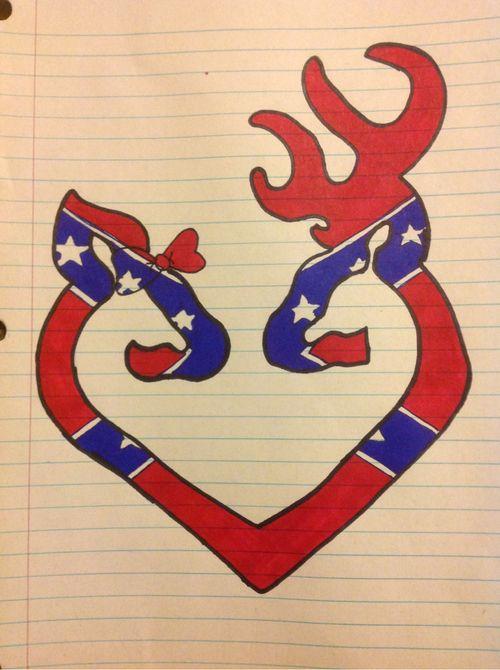 Rebel Flag Browning Buck and Doe