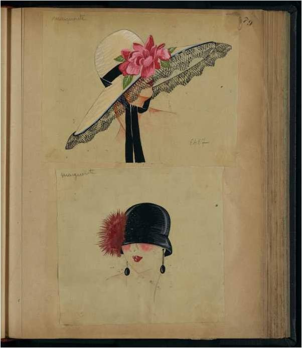 A precious look back in time, fashionable hats designed by Jeanne Lanvin, 1923.
