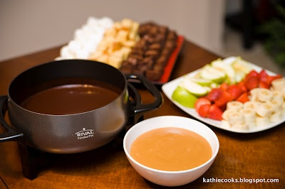 Caramel fondue...I would dip everything in this.