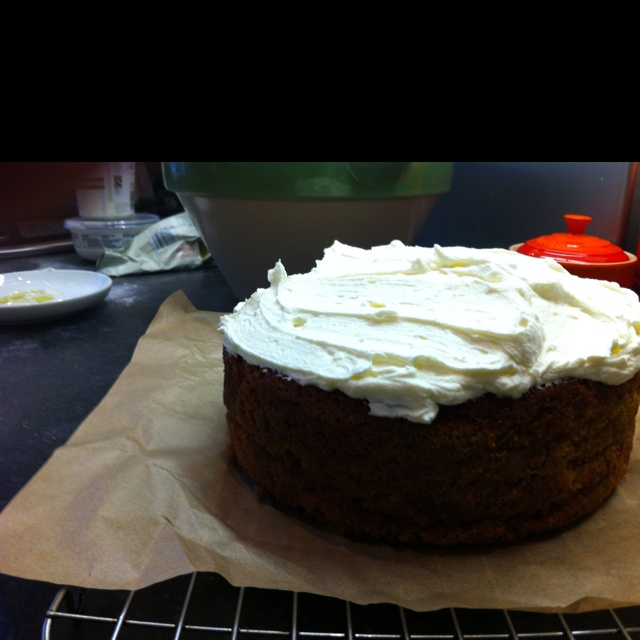 Homemade carrot cake with lime a lime and mascarpone icing