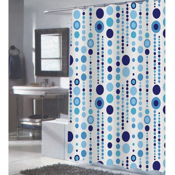84 Extra Long Mia Blue And White Fabric Shower Curtain